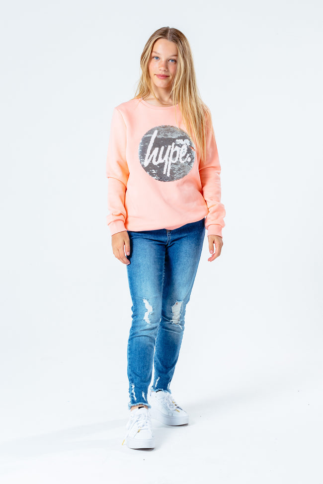 HYPE ROSE GOLD SEQUIN KIDS CREW NECK