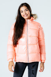 HYPE ROSE GOLD GLOSS KIDS PUFFER JACKET