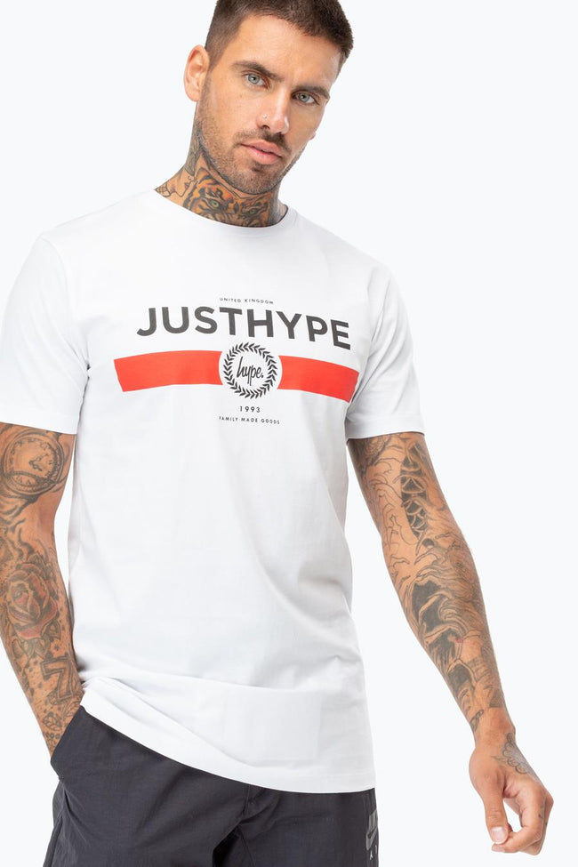 HYPE WHITE RED LINE MENS T-SHIRT