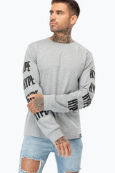 HYPE GREY BLOCK SLEEVE MENS L/S T-SHIRT