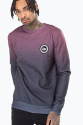 HYPE BURGUNDY SPECKLE FADE MENS CREW NECK