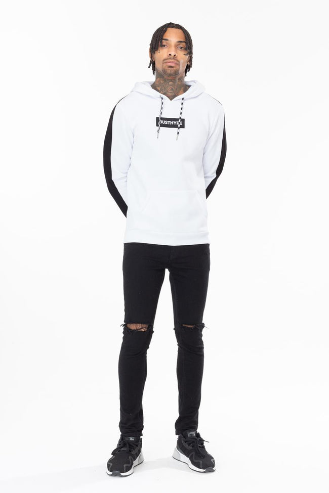 HYPE WHITE STRIPE SLEEVE MENS PULLOVER HOODIE