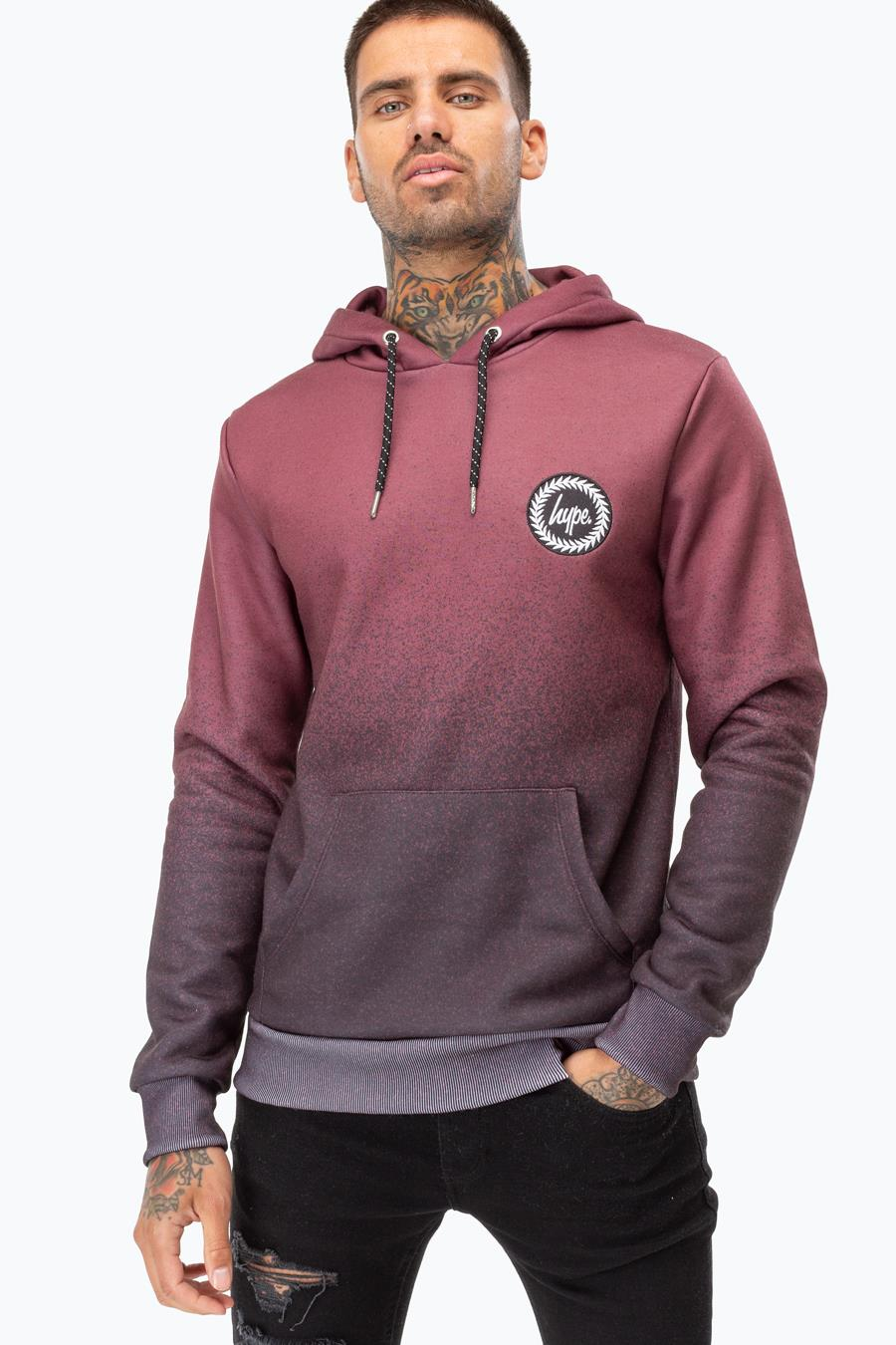 Image of Hype Burgundy Speckle Fade Mens Burgundy/black Pullover Hoodie | Size 2X-Large