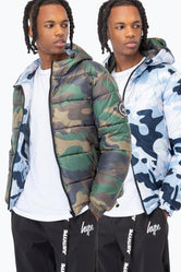 HYPE DOUBLE CAMO CREST MENS PUFFER JACKET