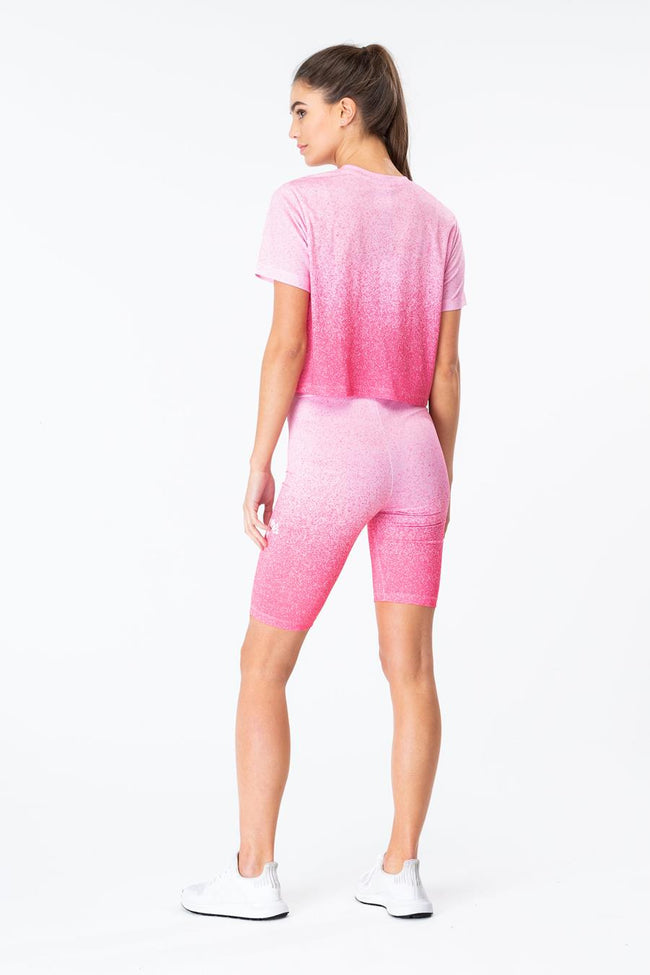 HYPE PINK SPECKLE FADE WOMENS CROP T-SHIRT