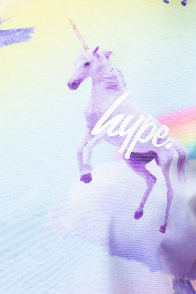 HYPE RAINBOW UNICORN WOMENS CROP T-SHIRT