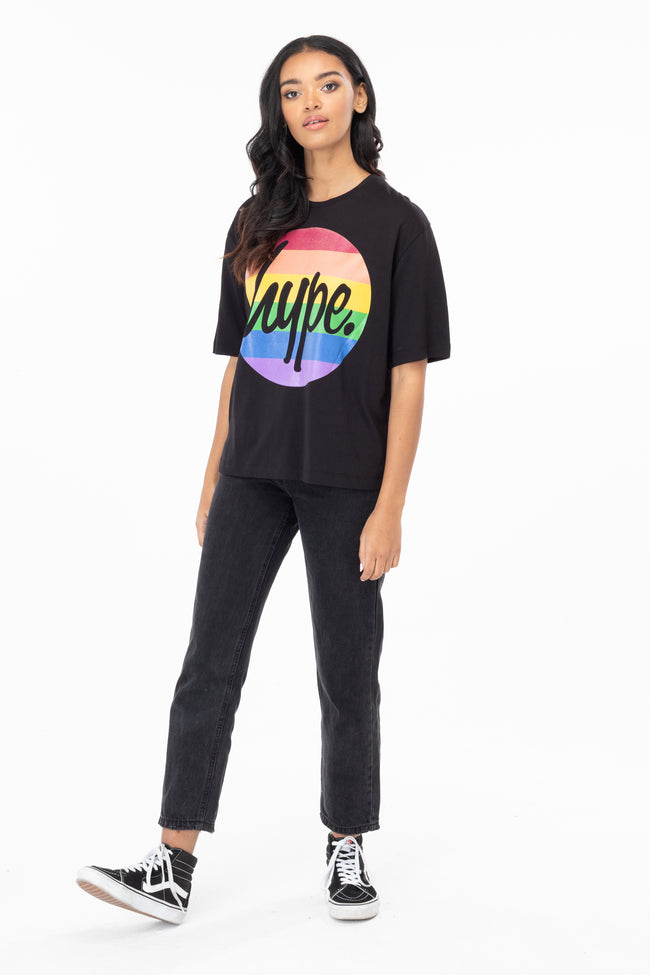 HYPE RAINBOW CIRCLE GLITTER SCRIPT WOMENS T-SHIRT