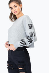 HYPE GREY BLOCK SLEEVE WOMENS CROP L/S T-SHIRT