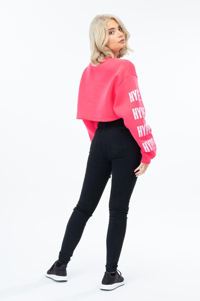HYPE PINK BLOCK SLEEVE WOMENS CROP L/S T-SHIRT