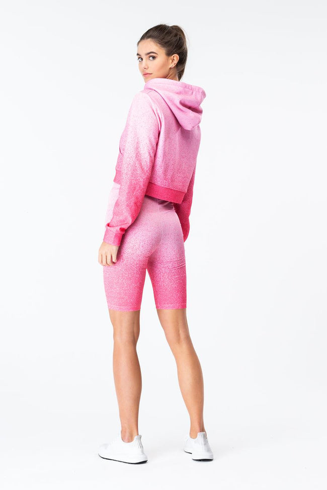 HYPE PINK SPECKLE FADE WOMENS CROP PULLOVER HOODIE