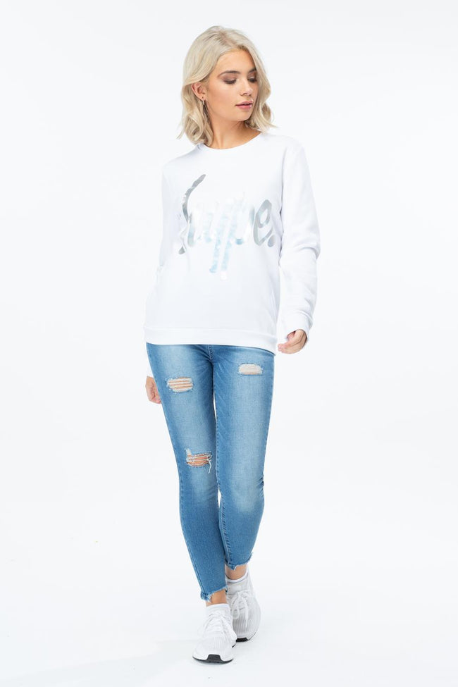HYPE IRIDESCENT SCRIPT WOMENS CREW NECK
