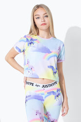 HYPE RAINBOW UNICORN KIDS CROP T-SHIRT