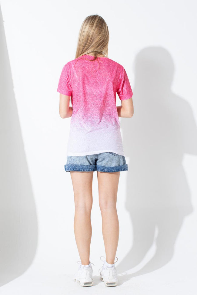 HYPE PINK WHITE SPECKLE FADE KIDS T-SHIRT