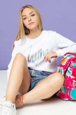 HYPE IRIDESCENT SCRIPT KIDS CROP CREW NECK