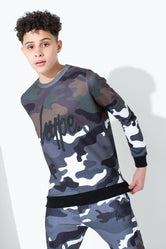 HYPE HALF CAMO KIDS CREW NECK