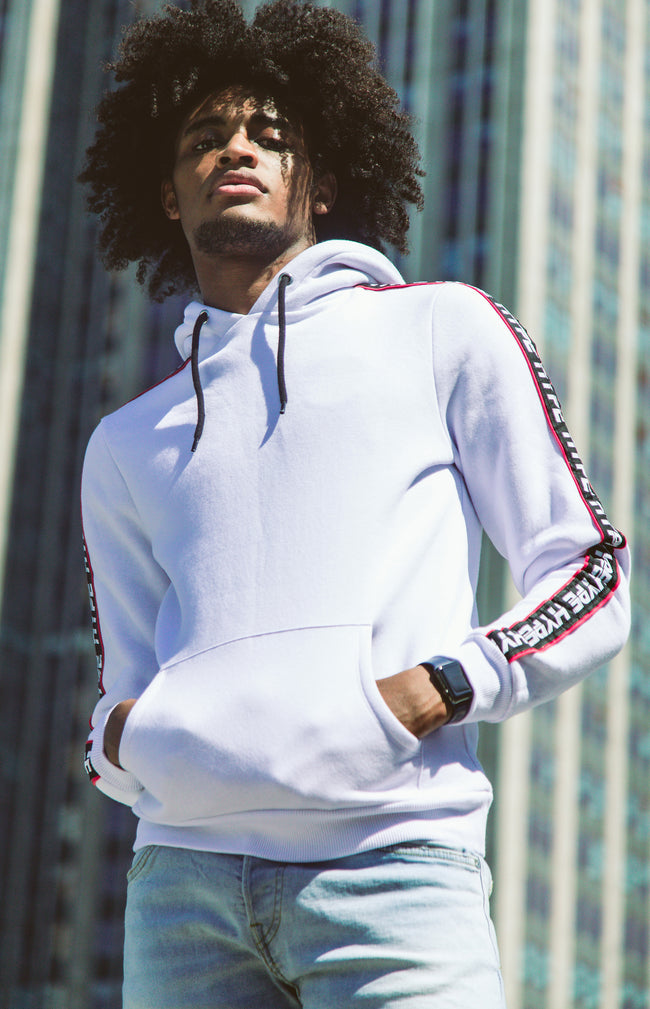HYPE WHITE JH RACE MEN'S PULLOVER HOODIE
