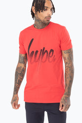 HYPE RED SPECKLE SCRIPT MEN'S T-SHIRT