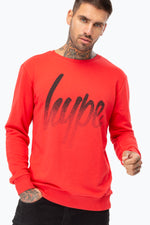 HYPE RED SPECKLE SCRIPT MEN'S CREW NECK