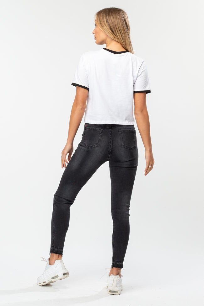 HYPE WHITE RINGER SCRIPT WOMEN'S CROP T-SHIRT