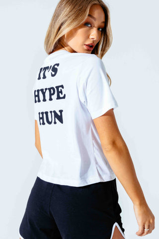 HYPE WHITE HUN WOMEN'S CROP T-SHIRT