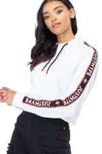 HYPE WHITE JH RACE TAPE WOMEN'S CROP PULLOVER HOODIE