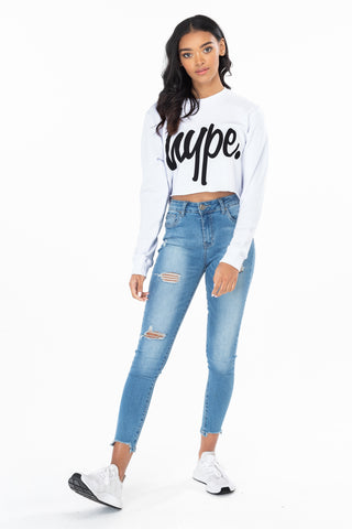 HYPE WHITE SCRIPT WOMEN'S CROP CREW NECK