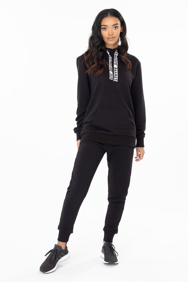 HYPE BLACK DRAWSTRING WOMEN'S PULLOVER HOODIE