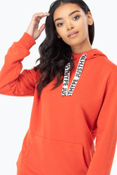 HYPE RED DRAWSTRING WOMEN'S PULLOVER HOODIE