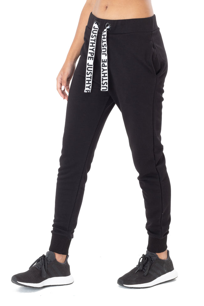 HYPE BLACK DRAWSTRING WOMEN'S JOGGERS