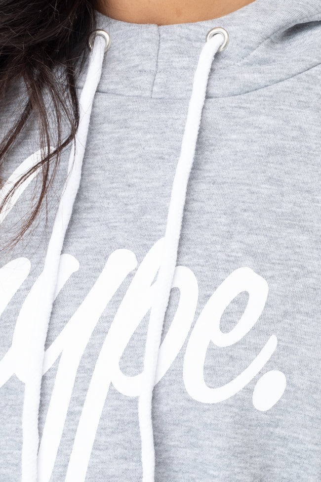 HYPE GREY SIDE STRIPE WOMEN'S CROP PULLOVER HOODIE