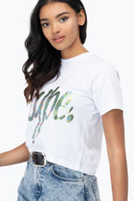 HYPE IRIDESCENT SCRIPT WOMEN'S CROP T-SHIRT