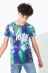 HYPE CYAN PALM KIDS T-SHIRT