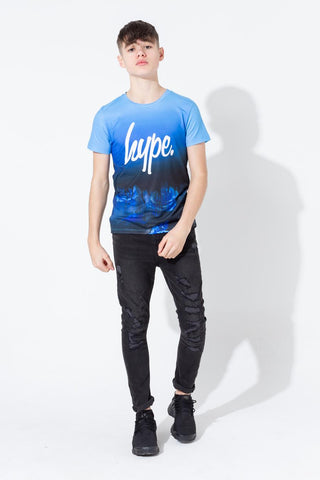 HYPE BLUE DRIPPING ROSE KIDS T-SHIRT