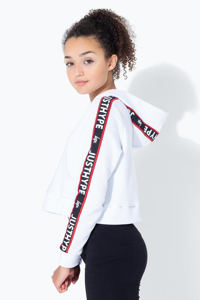 HYPE WHITE JH RACE TAPE KIDS CROP PULLOVER HOODIE
