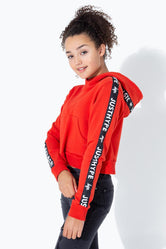 HYPE RED JH RACE TAPE KIDS CROP PULLOVER HOODIE