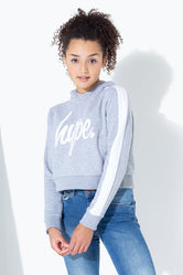 HYPE GREY SIDE STRIPE KIDS CROP PULLOVER HOODIE