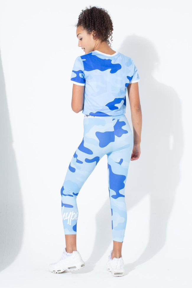 HYPE BLUE CAMO RINGER KIDS CROP T-SHIRT