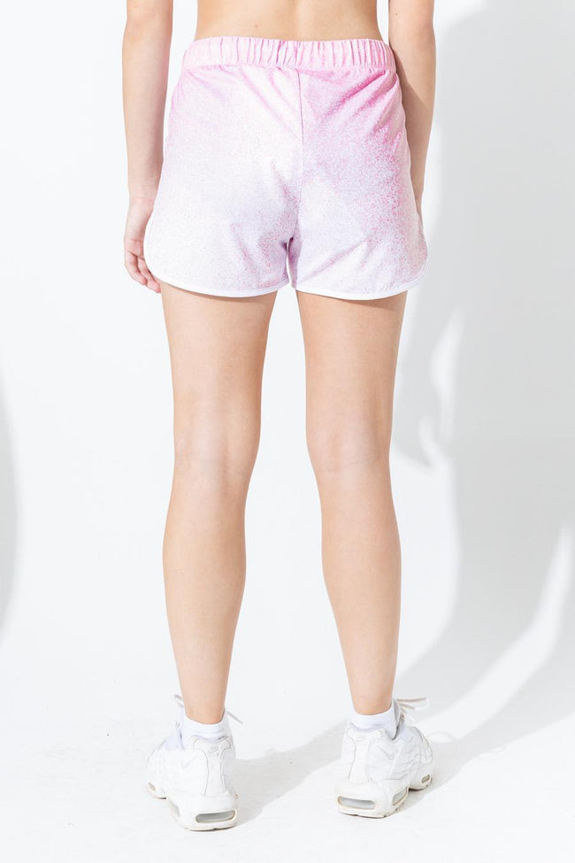 HYPE PINK SPECKLE FADE KIDS RUNNING SHORTS