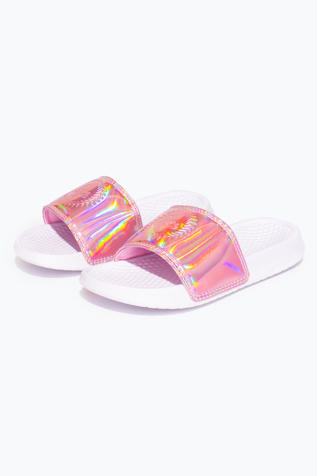 HYPE PINK HOLOGRAPHIC KIDS SLIDERS
