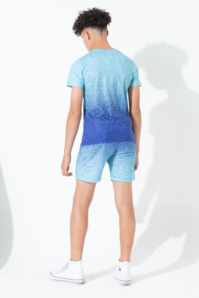 HYPE MINT BLUE SPECKLE FADE KIDS SHORTS