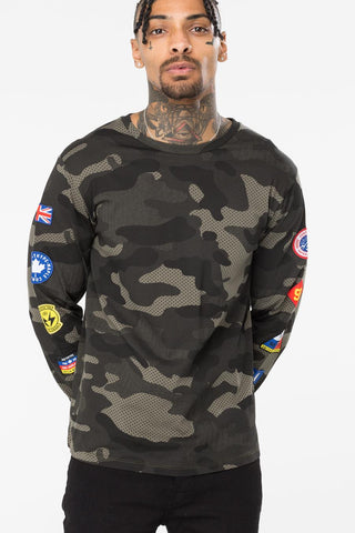 HYPE KHAKI CAMO PATCHES MENS L/S T-SHIRT