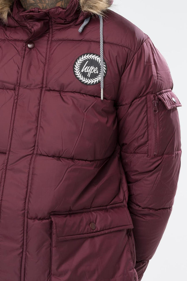HYPE BURGUNDY EXPLORER MENS PUFFA JACKET