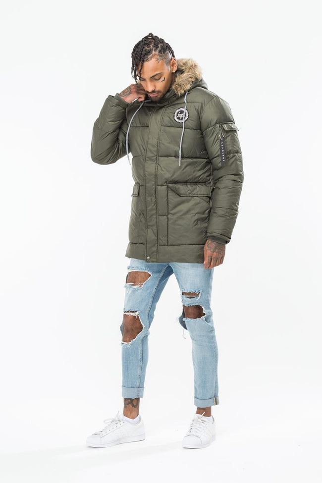 HYPE KHAKI EXPLORER MENS PARKA JACKET