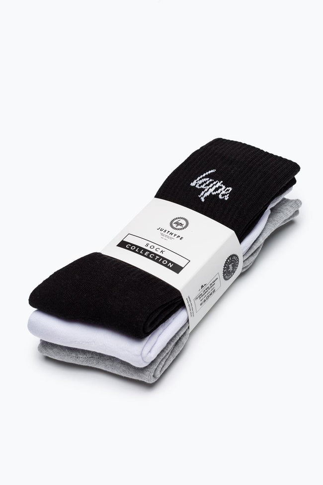 HYPE MULTI SCRIPT CREW SOCKS 3X PACK