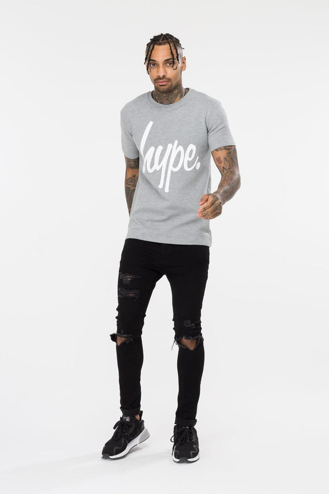 HYPE GREY COGNATE SCRIPT MENS T-SHIRT