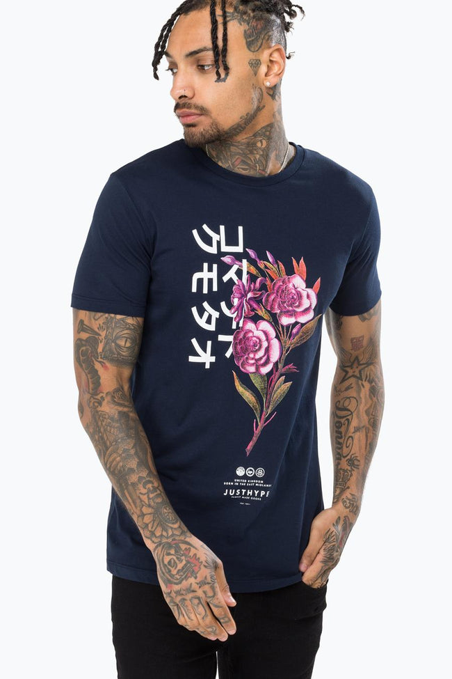 HYPE NAVY ORIENTAL BLOOM MEN'S T-SHIRT