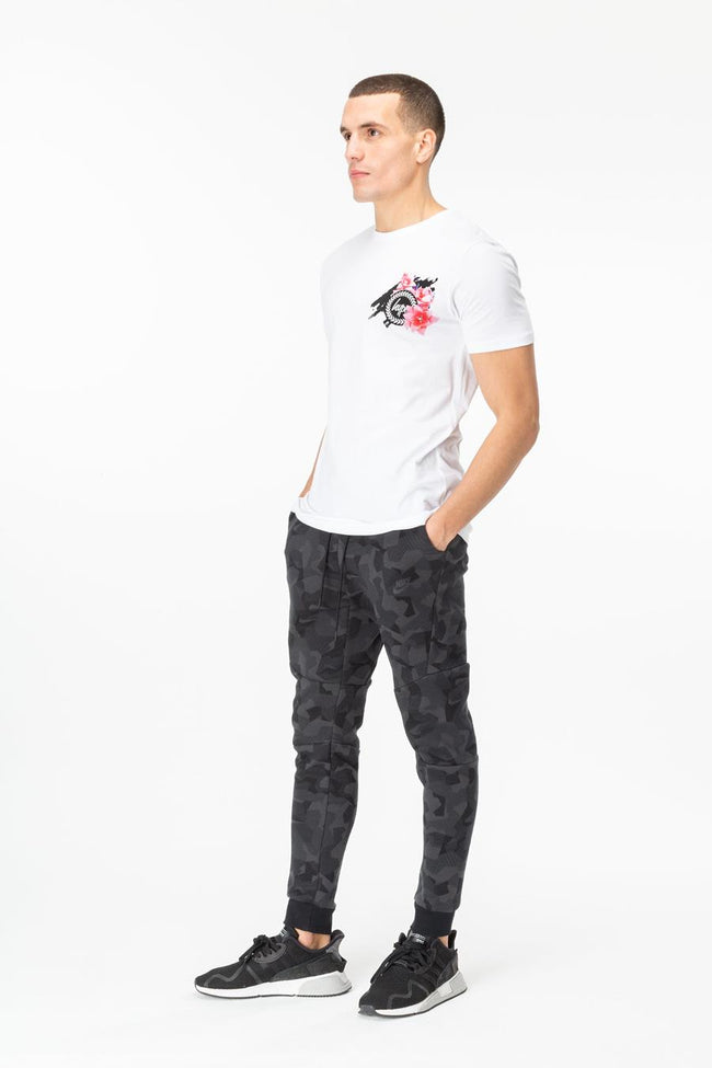 HYPE WHITE FLORAL CREST MENS T-SHIRT