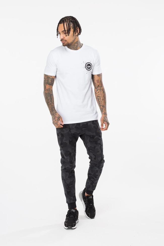 HYPE WHITE SPECKLE CREST MENS T-SHIRT