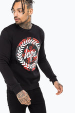 HYPE BLACK ROSE CIRCLE MENS CREWNECK