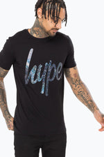 HYPE BLACK FOIL SCRIPT MENS T-SHIRT